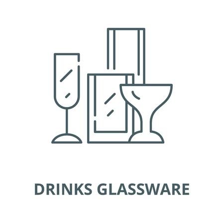 Drinks glassware line icon, vector. Drinks glassware outline sign, concept symbol, illustration Illustration