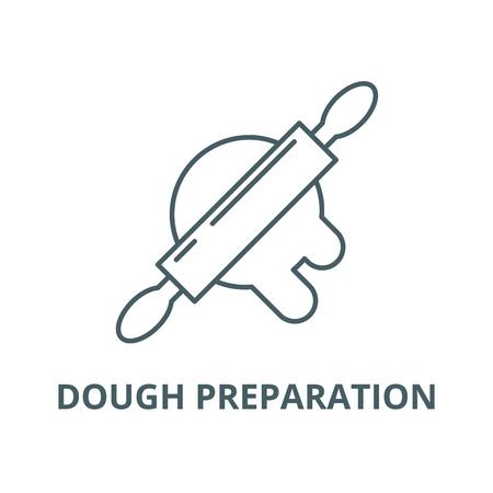 Dough preparation line icon, vector. Dough preparation outline sign, concept symbol, illustration