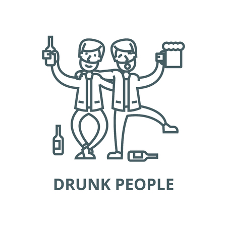 Drunk people,drunk party,two men drinking line icon, vector. Drunk people,drunk party,two men drinking outline sign, concept symbol, illustration