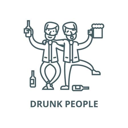Drunk people,drunk party,two men drinking line icon, vector. Drunk people,drunk party,two men drinking outline sign, concept symbol, illustration Standard-Bild - 123716098