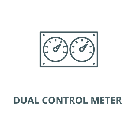 Dual control meter  line icon, vector. Dual control meter  outline sign, concept symbol, illustration