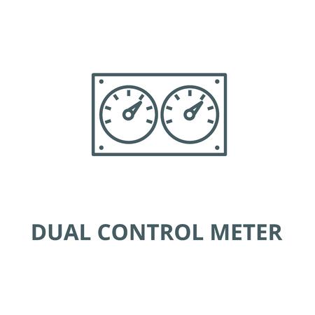 Dual control meter  line icon, vector. Dual control meter  outline sign, concept symbol, illustration