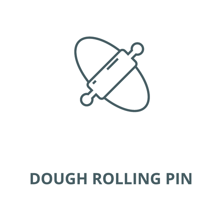 Dough rolling pin line icon, vector. Dough rolling pin outline sign, concept symbol, illustration