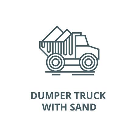 Dumper truck with sand line icon, vector. Dumper truck with sand outline sign, concept symbol, illustration