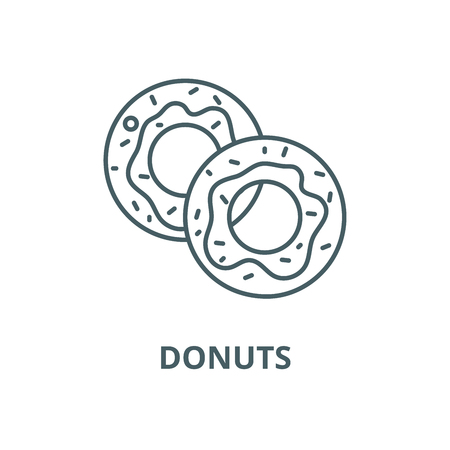 Donuts line icon, vector. Donuts outline sign, concept symbol, illustration Stock Vector - 120715728