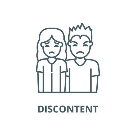 Discontent line icon, vector. Discontent outline sign, concept symbol, illustration