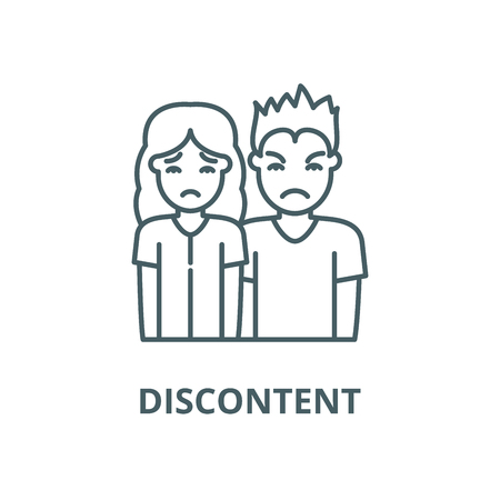 Discontent line icon, vector. Discontent outline sign, concept symbol, illustration Illustration