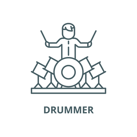 Drummer line icon, vector. Drummer outline sign, concept symbol, illustration Stock fotó - 120715870