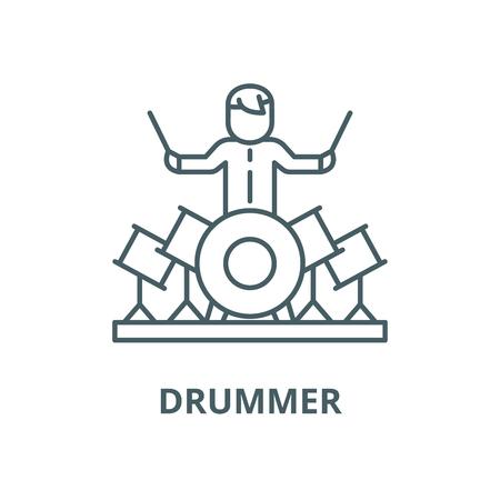 Drummer line icon, vector. Drummer outline sign, concept symbol, illustration