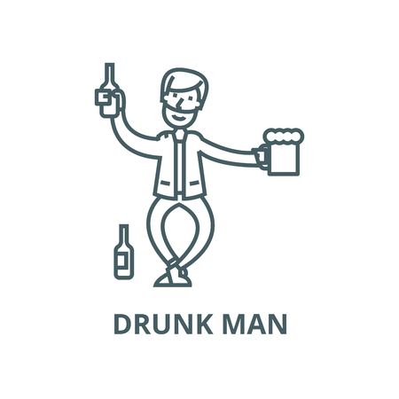 Drunk man line icon, vector. Drunk man outline sign, concept symbol, illustration Stock Illustratie