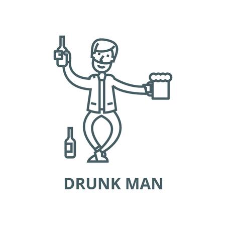 Drunk man line icon, vector. Drunk man outline sign, concept symbol, illustration Illustration