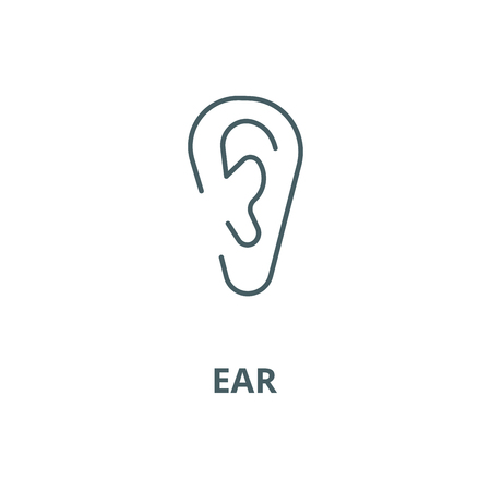 Ear line icon, vector. Ear outline sign, concept symbol, illustration