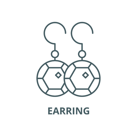 Earring line icon, vector. Earring outline sign, concept symbol, illustration