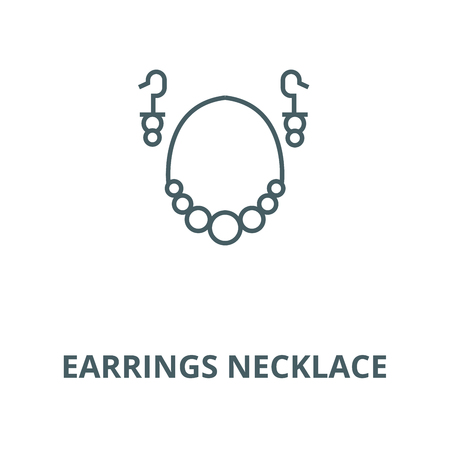 Earrings necklace line icon, vector. Earrings necklace outline sign, concept symbol, illustration