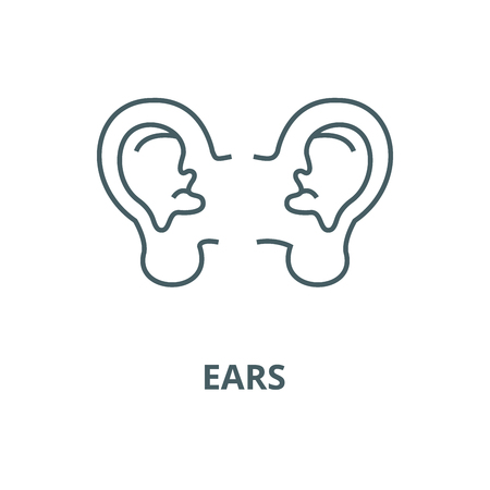 Ears line icon, vector. Ears outline sign, concept symbol, illustration