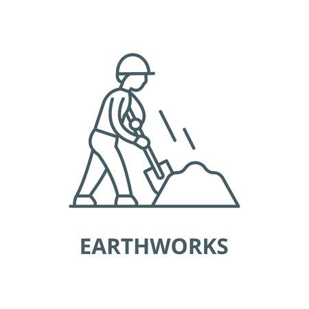 Earthworks line icon, vector. Earthworks outline sign, concept symbol, illustration Illustration