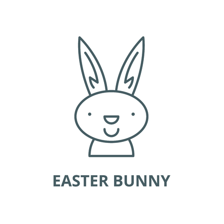 Easter bunny line icon, vector. Easter bunny outline sign, concept symbol, illustration