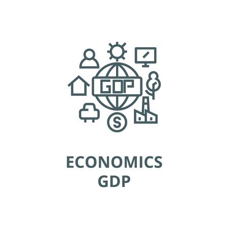 Economics,gdp line icon, vector. Economics,gdp outline sign, concept symbol, illustration