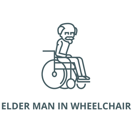 Elder man in wheelchair line icon, vector. Elder man in wheelchair outline sign, concept symbol, illustration
