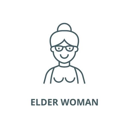 Elder woman,grandmother line icon, vector. Elder woman,grandmother outline sign, concept symbol, illustration