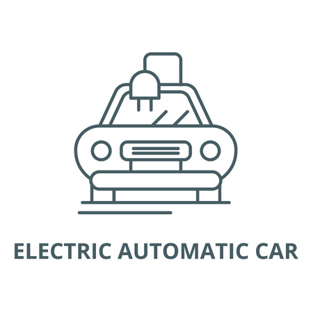 Electric automatic car line icon, vector. Electric automatic car outline sign, concept symbol, illustration