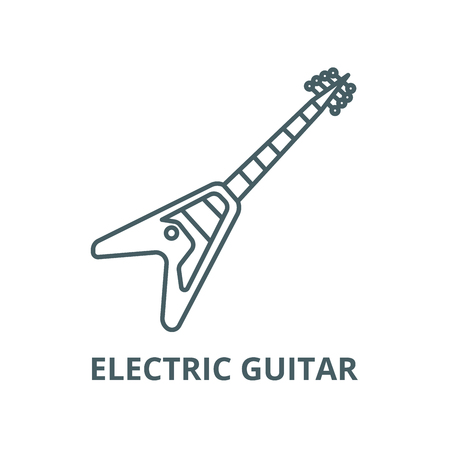 Electric guitar line icon, vector. Electric guitar outline sign, concept symbol, illustration