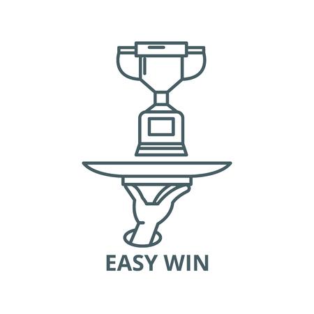 Easy win line icon, vector. Easy win outline sign, concept symbol, illustration