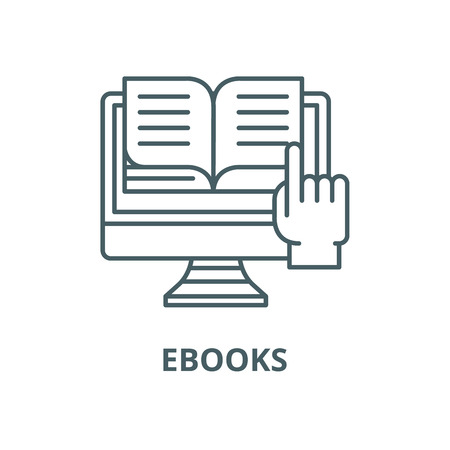Ebooks line icon, vector. Ebooks outline sign, concept symbol, illustration