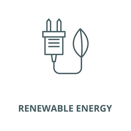 Eco plug, renewable energy line icon, vector. Eco plug, renewable energy outline sign, concept symbol, illustration Standard-Bild - 123716130