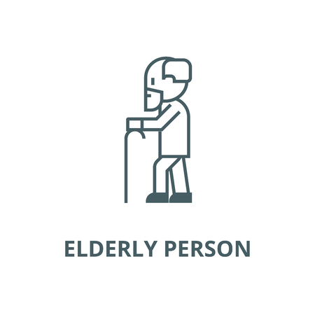 Elderly person with beard and  line icon, vector. Elderly person with beard and  outline sign, concept symbol, illustration