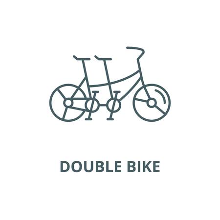 Double bike line icon, vector. Double bike outline sign, concept symbol, illustration Vetores
