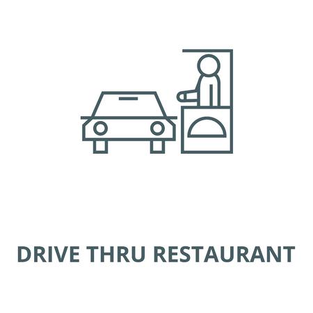 Conducir a través del icono de línea de restaurante, vector. Conducir a través de restaurante signo de contorno, símbolo de concepto, Ilustración Ilustración de vector