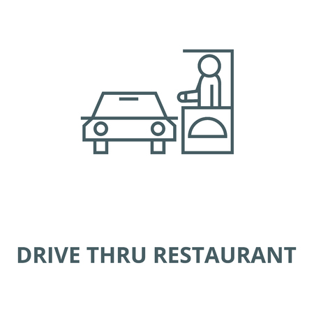 Guidare attraverso l'icona della linea del ristorante, vettore. Guidare attraverso il segno di contorno del ristorante, simbolo di concetto, illustrazione Vettoriali