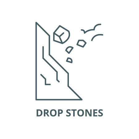 Drop stones carefully line icon, vector. Drop stones carefully outline sign, concept symbol, illustration