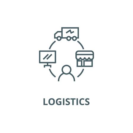 Dropshipping, drop ship,logistics line icon, vector. Dropshipping, drop ship,logistics outline sign, concept symbol, illustration
