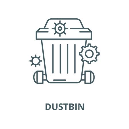 Dustbin line icon, vector. Dustbin outline sign, concept symbol, illustration 일러스트