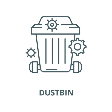 Dustbin line icon, vector. Dustbin outline sign, concept symbol, illustration Illustration