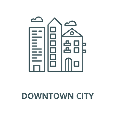 Downtown city line icon, vector. Downtown city outline sign, concept symbol, illustration