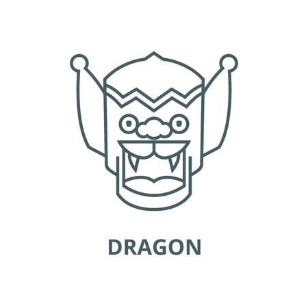 Dragon,china line icon, vector. Dragon,china outline sign, concept symbol, illustration Illustration