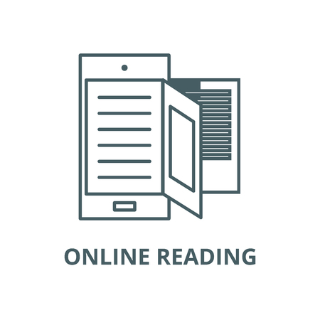 E book,online reading line icon, vector. E book,online reading outline sign, concept symbol, illustration