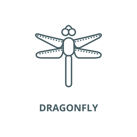 Dragonfly line icon, vector. Dragonfly outline sign, concept symbol, illustration