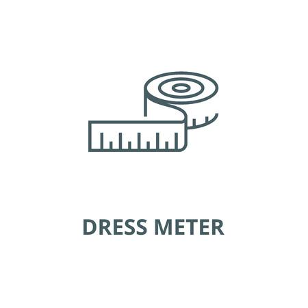Sukienka metr ikona linii, wektor. Znak konspektu licznika sukni, symbol koncepcji, ilustracja