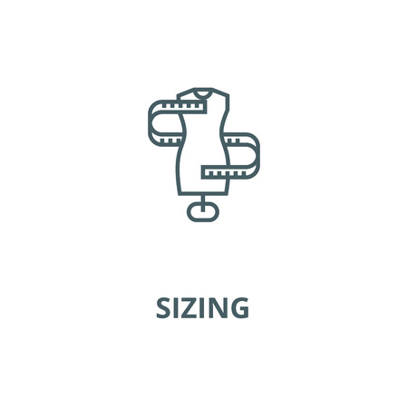 Dress size,sizing line icon, vector. Dress size,sizing outline sign, concept symbol, illustration