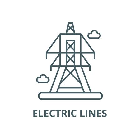 Electric lines line icon, vector. Electric lines outline sign, concept symbol, illustration Foto de archivo - 120715556