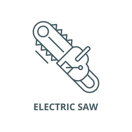 Electric saw line icon, vector. Electric saw outline sign, concept symbol, illustration Ilustração
