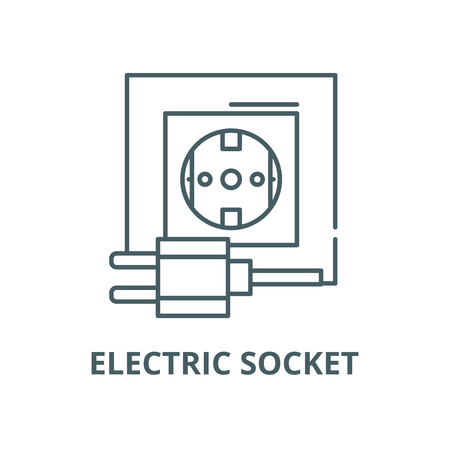 Electric socket line icon, vector. Electric socket outline sign, concept symbol, illustration Stock Illustratie