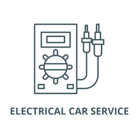 Electrical car service line icon, vector. Electrical car service outline sign, concept symbol, illustration