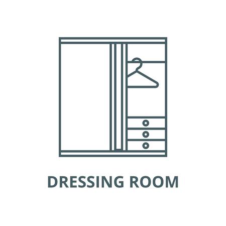 Dressing room line icon, vector. Dressing room outline sign, concept symbol, illustration
