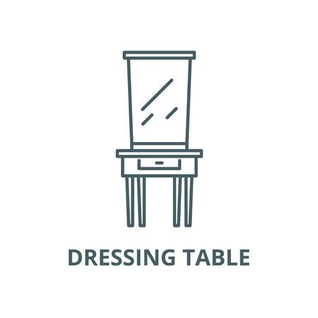 Dressing table line icon, vector. Dressing table outline sign, concept symbol, illustration Illustration