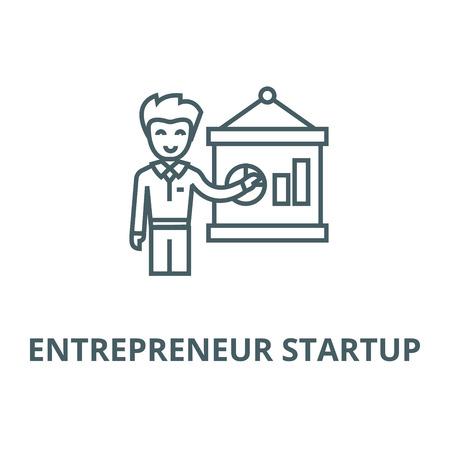 Entrepreneur presenting startup  line icon, vector. Entrepreneur presenting startup  outline sign, concept symbol, illustration Illustration